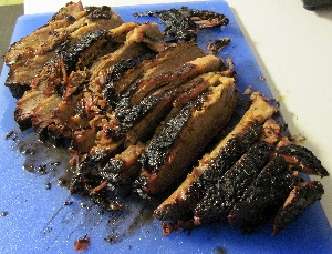 Smoked brisket, sliced & ready to eat